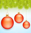 Red Christmas baubles vector image