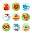 set christmas winter circle icons isolated on vector image