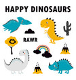 set cute dinosaurs design vector image