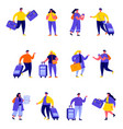 set flat people couple family travelling vector image