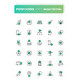 set of 30 line icons music festival vector image