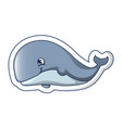 smiley whale icon cartoon style vector image