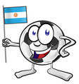 soccer ball cartoon with argentina flag vector image vector image