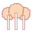 three pixelated tree nature environment icon vector image