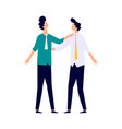 two men in business suits hug shoulders vector image