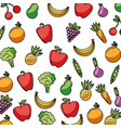 vegetables and fruits fresh food seamless pattern vector image vector image