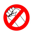 Stop violence Ban fight Forbidden fist Red label vector image