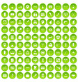 100 business day icons set green circle vector image vector image