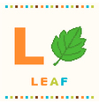 alphabet for children letter l and a leaf vector image vector image