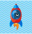 angry alien in rocket cartoon vector image
