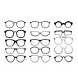 black glasses rims eyeglasses and sunglasses vector image