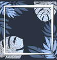 blue tropical leaves on the dark background vector image vector image