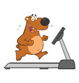 brown bear character running on a treadmill vector image vector image