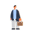 businessman holding suitcase happy business man vector image vector image