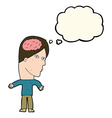 cartoon man with brain symbol with speech bubble vector image