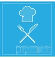 Chef with knife and fork sign White section of vector image vector image