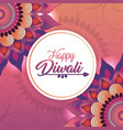 circle diwali sticker with flowers mandalas vector image vector image