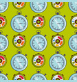 clock watches timer seamless pattern vector image vector image