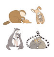 collection of hugging cartoon animals isolated on vector image vector image