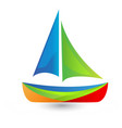 colorful boat icon vector image vector image