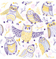 cute owls seamless pattern in boho style vector image vector image