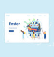 easter landing page web site template with cartoon vector image
