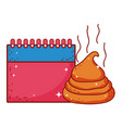 excrement joke with calendar fools day icon vector image
