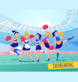 fans cheering team colored composition vector image vector image