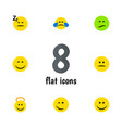 flat icon emoji set of angel asleep frown and vector image vector image