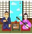 Geisha and samurai tea ceremony vector image vector image