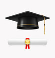 graduate cap with diploma college ceremony and vector image