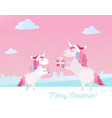 greeting card with text merry christmas unicorn vector image vector image