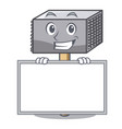 grinning with board character of metallic meat vector image vector image