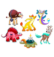 Group of funny strange animals vector image vector image