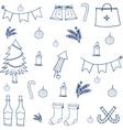 Hand draw object doodle set christmas vector image vector image