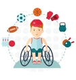 Handicapped boy choose sport vector image