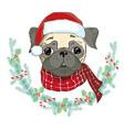 image of puppy pug in santas hat dog in santa vector image
