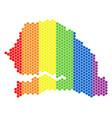 lgbt spectrum dotted senegal map vector image