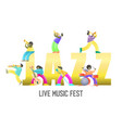 live music fest poster banner template vector image vector image