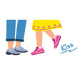 loving couple love and kiss legs a girl and a vector image