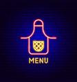 menu neon label vector image