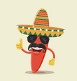 mexican chili pepper character with sunglasses vector image