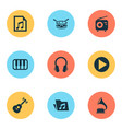 music icons set collection of octave earphone vector image vector image
