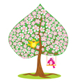 One of Four seasons - spring - tree and funny bird vector image