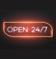 open 24 hours glowing neon sign vector image