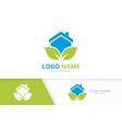 organic real estate logo combination house vector image