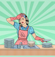 pop art housewife washing dishes at the kitchen vector image vector image