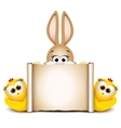 Postcard design template Easter bunny with two vector image vector image