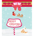 Santa Claus flying over city vector image vector image