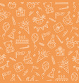 seamless pattern with happy birthday doodles vector image vector image